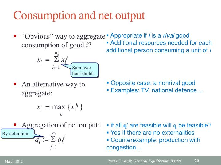 Consumption and net output