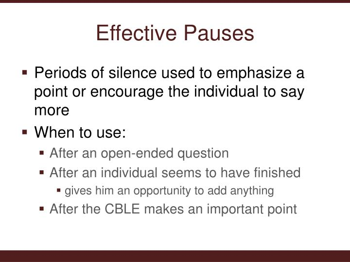 Effective Pauses