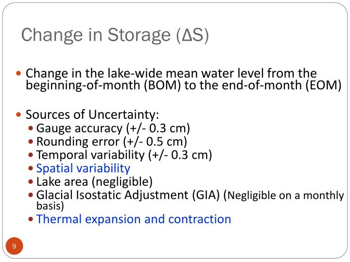 Change in Storage (