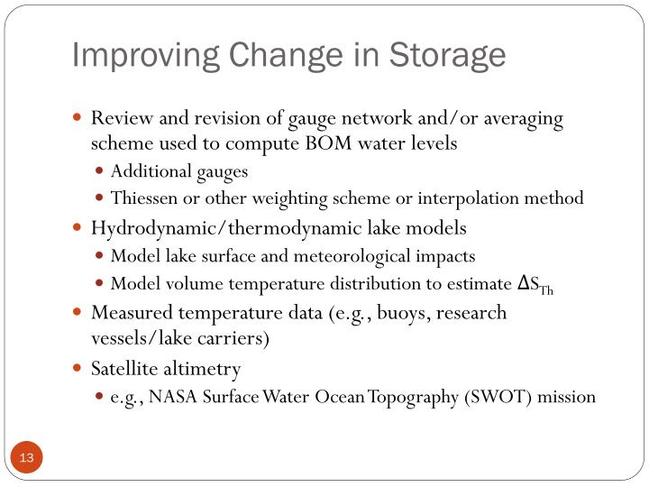 Improving Change in Storage