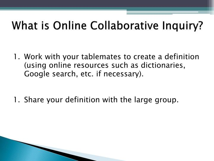 Collaborative Classroom Definition ~ Ppt digging deeper online collaborative inquiry