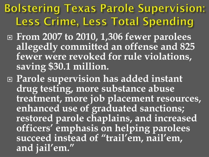 Bolstering Texas Parole Supervision: Less Crime, Less Total Spending