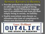 remove barriers to reentry