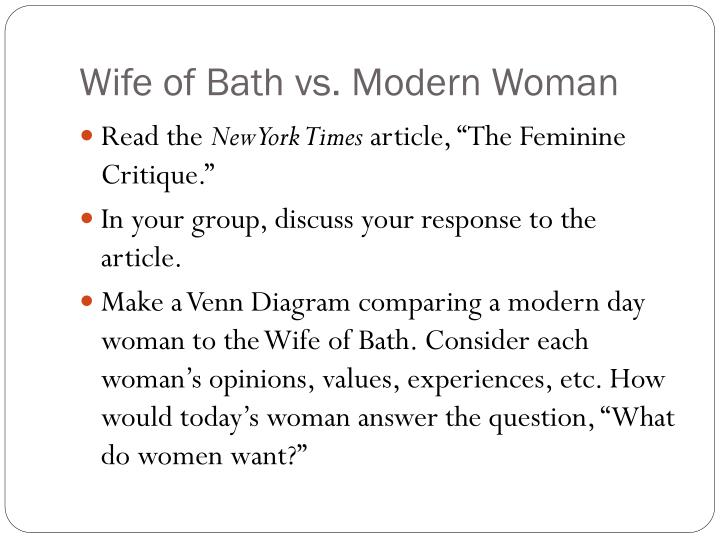 Wife of Bath vs. Modern Woman