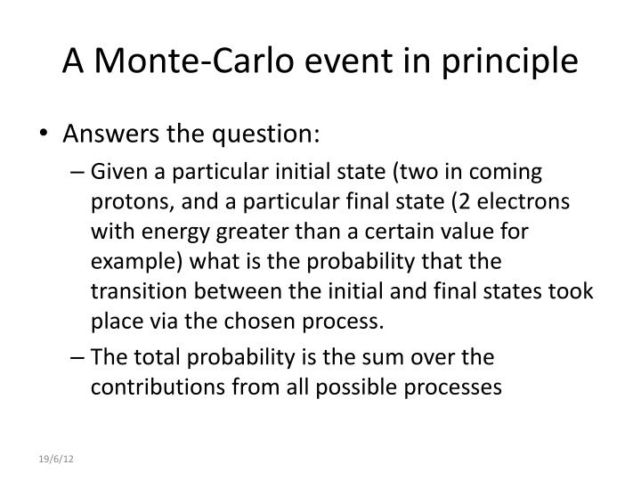 A Monte-Carlo event in principle
