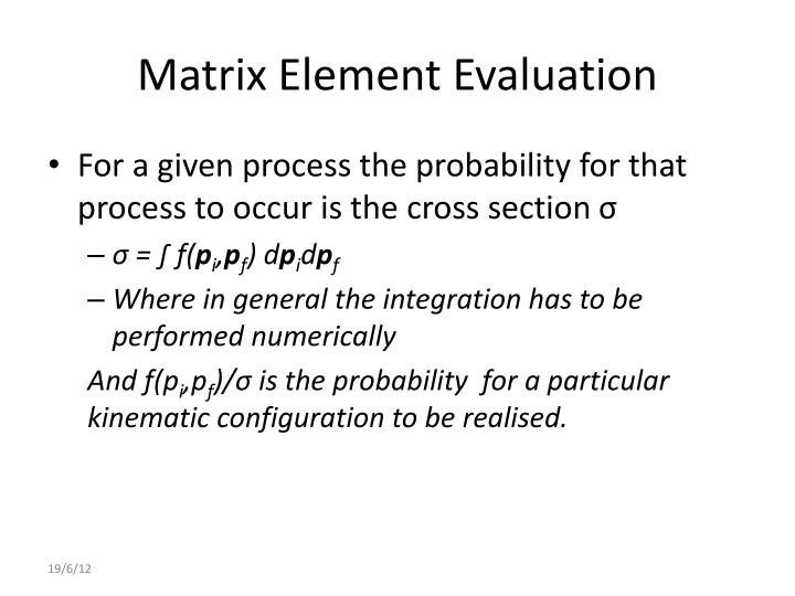Matrix Element Evaluation