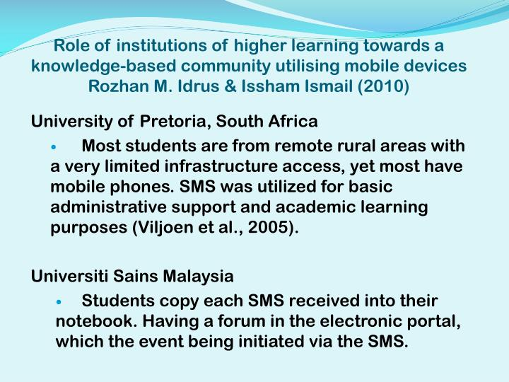 Role of institutions of higher learning towards a knowledge-based community utilising mobile devices