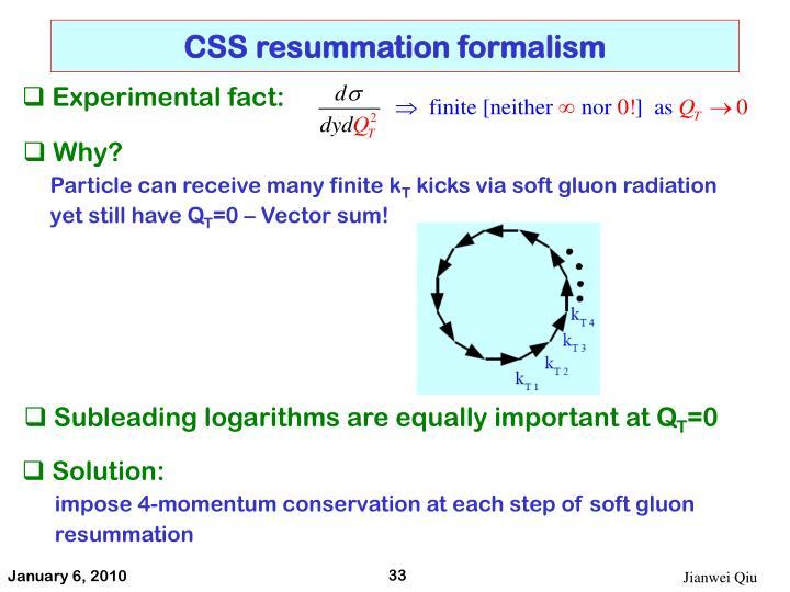 CSS resummation formalism