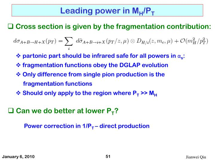 Leading power in M