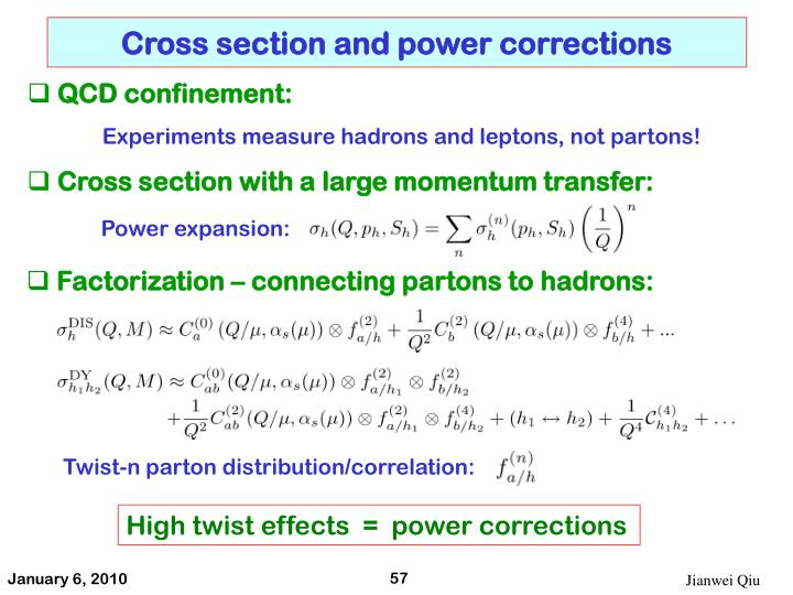 Cross section and power corrections