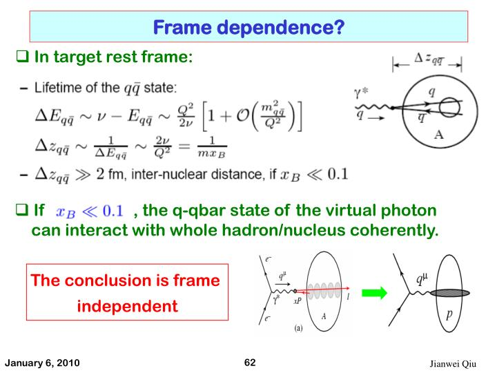 Frame dependence?