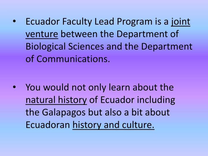 Ecuador Faculty Lead Program is a