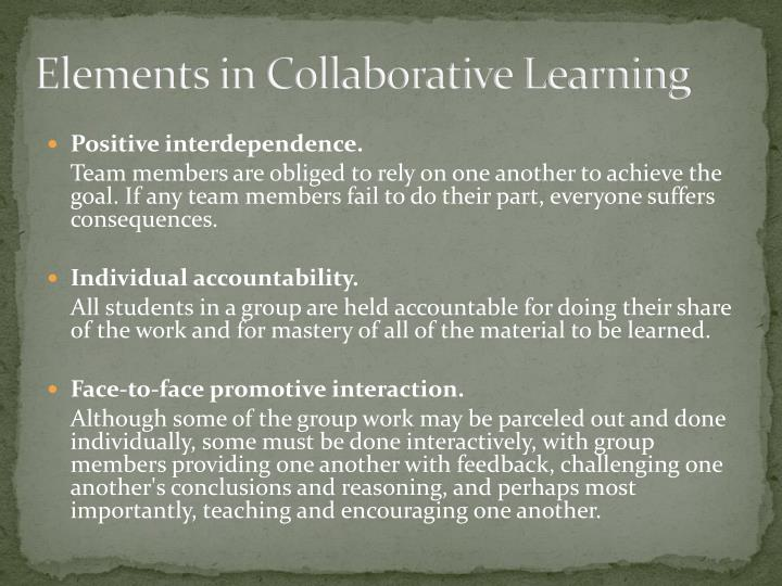 Elements in Collaborative Learning