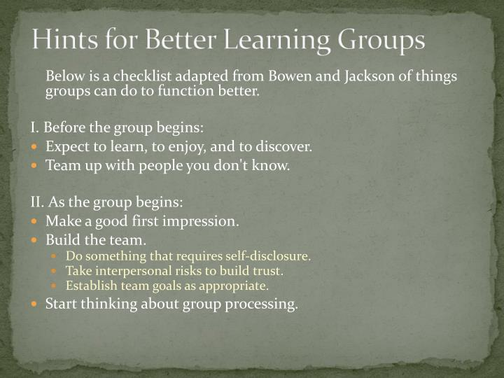Hints for Better Learning Groups