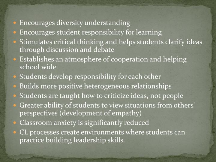 Encourages diversity understanding