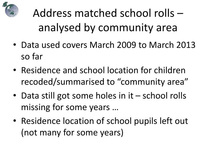 Address matched school rolls – analysed by community area