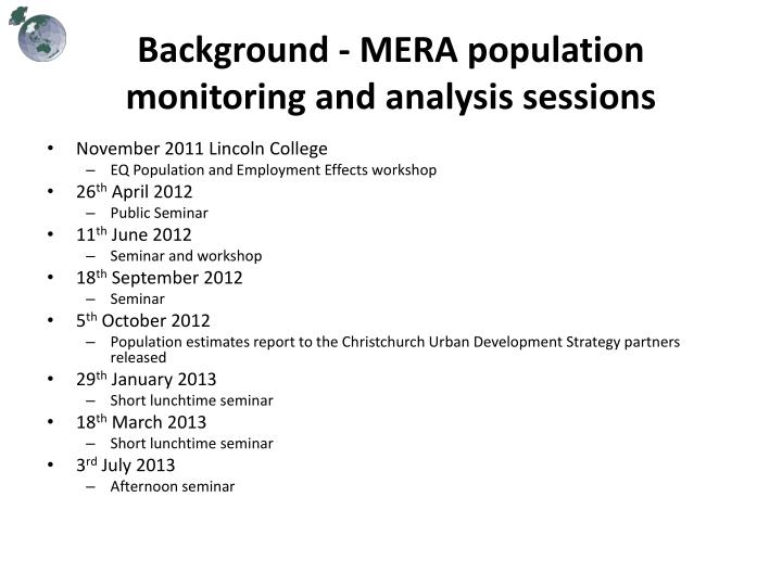 Background - MERA population monitoring and analysis sessions