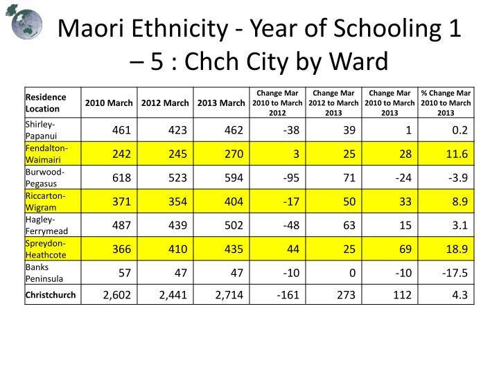 Maori Ethnicity - Year