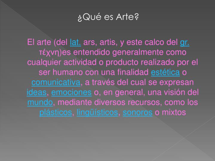 ¿Qué es Arte?