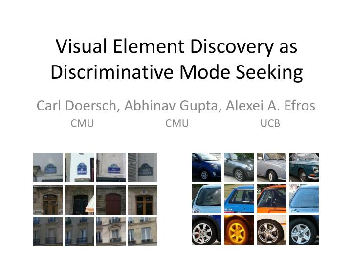Visual element discovery as discriminative mode seeking