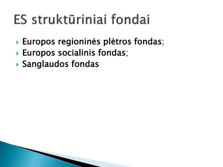 ES struktūriniai fondai