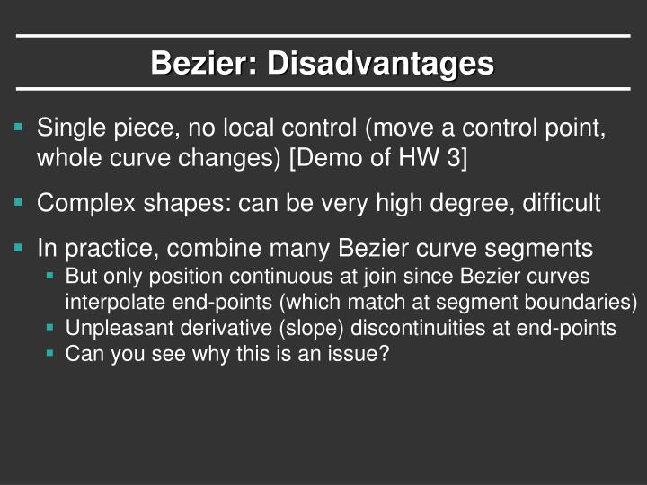 Bezier: Disadvantages