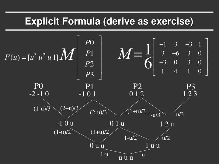 Explicit Formula (derive as exercise)