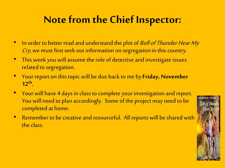 Note from the chief inspector
