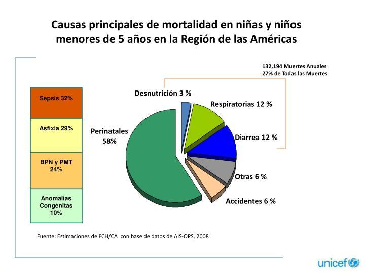 Causas principales de mortalidad en niñas y niños menores de 5 años en la Región de las Américas