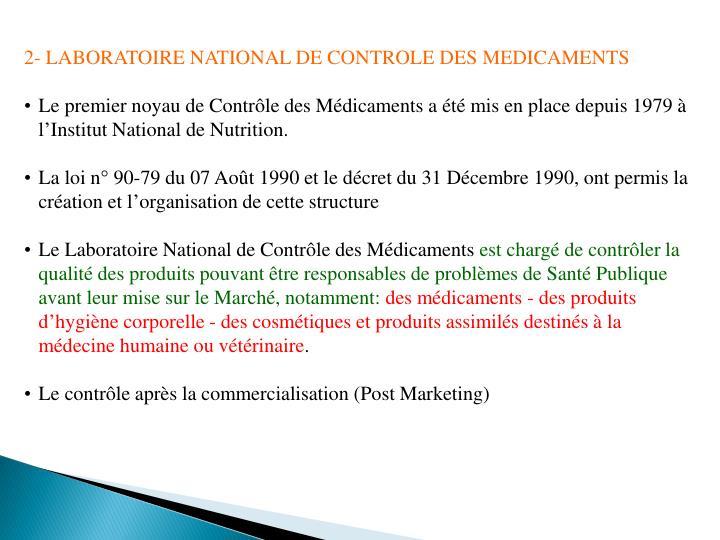2- LABORATOIRE NATIONAL DE CONTROLE DES MEDICAMENTS