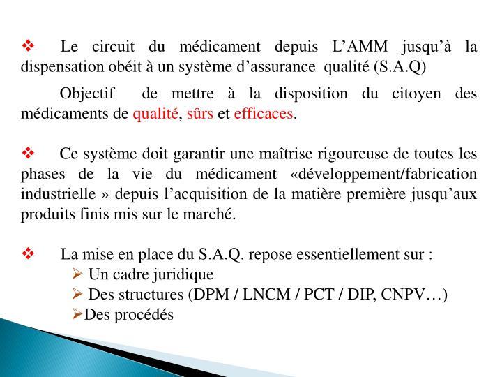 Le circuit du médicament depuis L'AMM jusqu'à la dispensation obéit à un système d'assurance  qualité (S.A.Q)