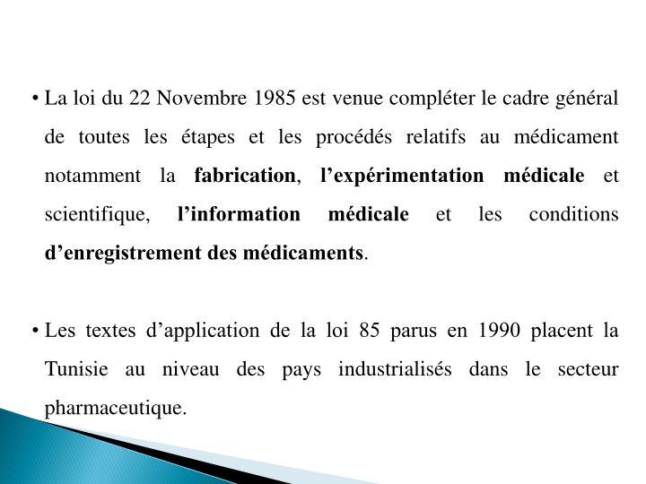 La loi du 22 Novembre 1985 est venue compléter le cadre général de toutes les étapes et les procédés relatifs au médicament notamment la