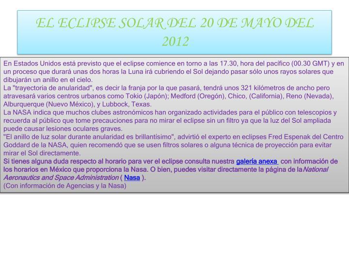 EL ECLIPSE SOLAR DEL 20 DE MAYO DEL 2012