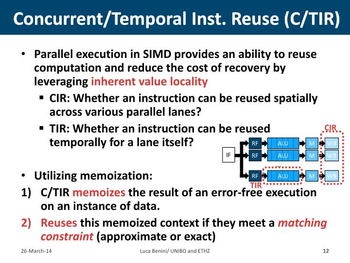 Concurrent/Temporal Inst. Reuse (C/TIR)