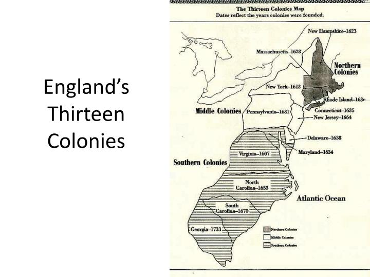 England s thirteen colonies