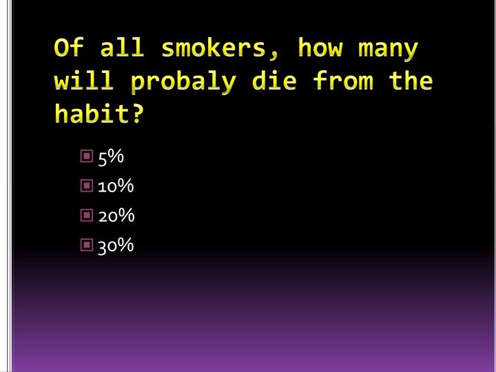 Of all smokers, how many will