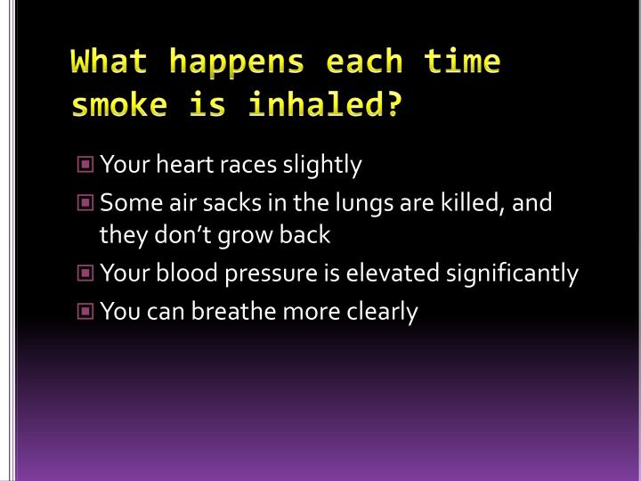 What happens each time smoke is inhaled?