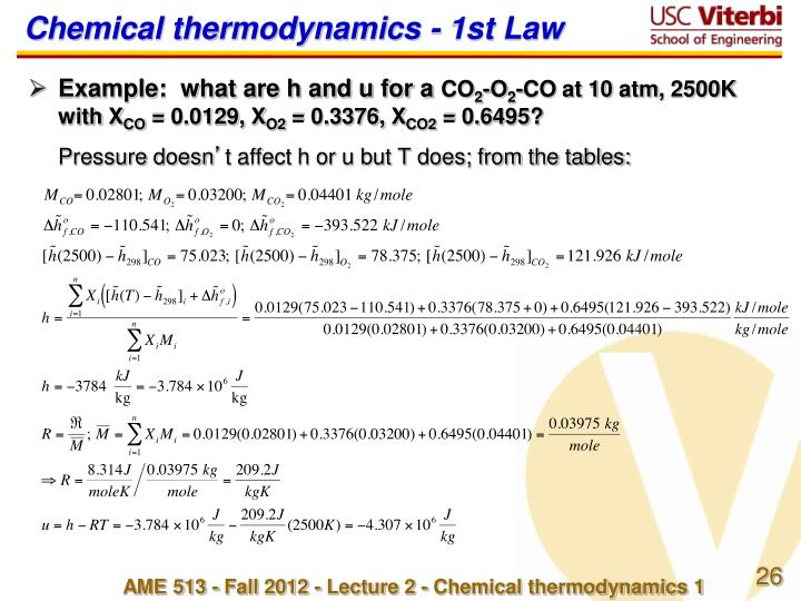 Chemical thermodynamics - 1st Law