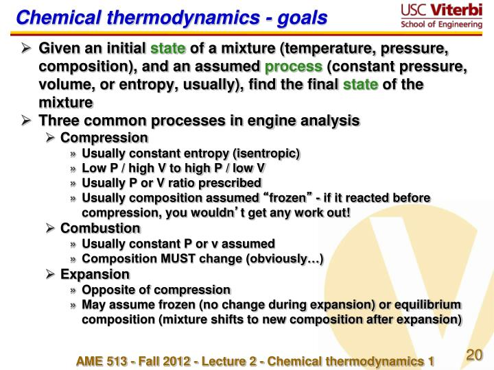 Chemical thermodynamics - goals