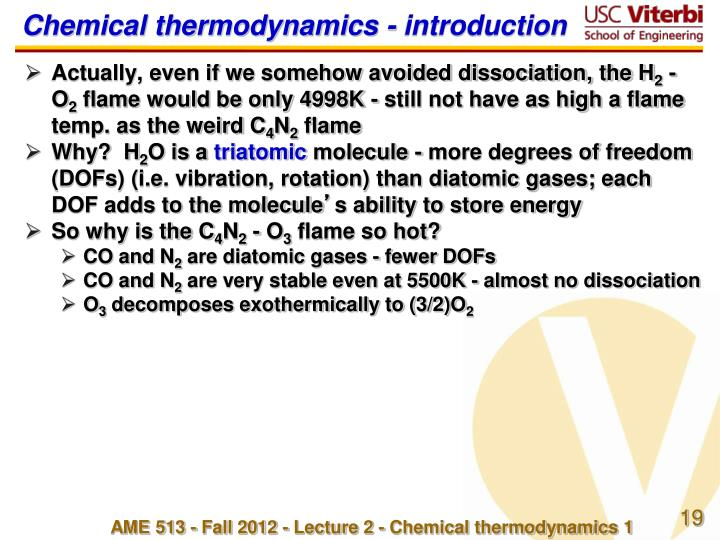 Chemical thermodynamics -