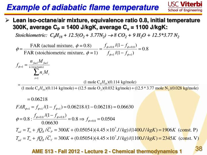 Example of adiabatic flame temperature