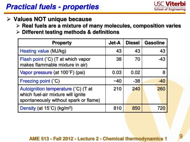 Practical fuels - properties
