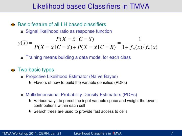 Likelihood based Classifiers in TMVA