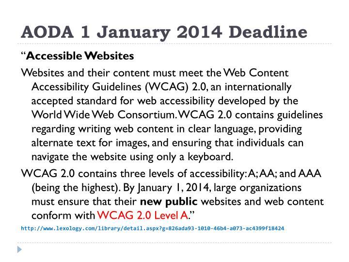 AODA 1 January 2014 Deadline