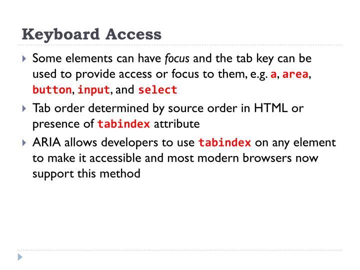 Keyboard Access