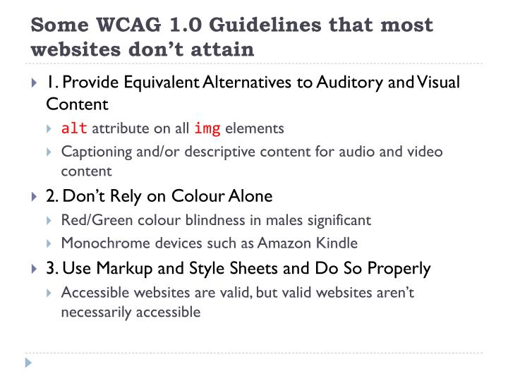 Some WCAG 1.0 Guidelines that most websites don't attain