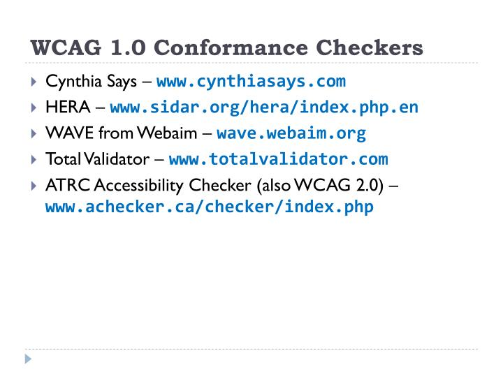 WCAG 1.0 Conformance Checkers