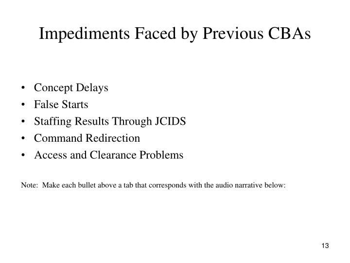 Impediments Faced by Previous CBAs