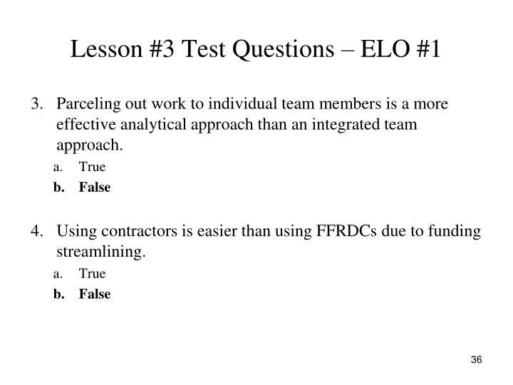 Lesson #3 Test Questions – ELO #1