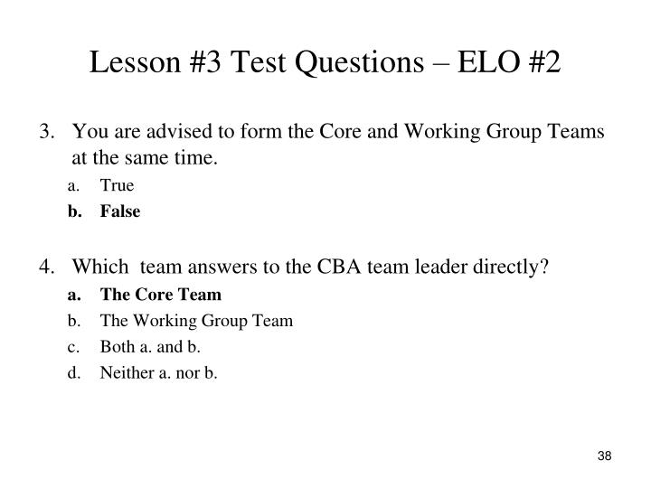 Lesson #3 Test Questions – ELO #2
